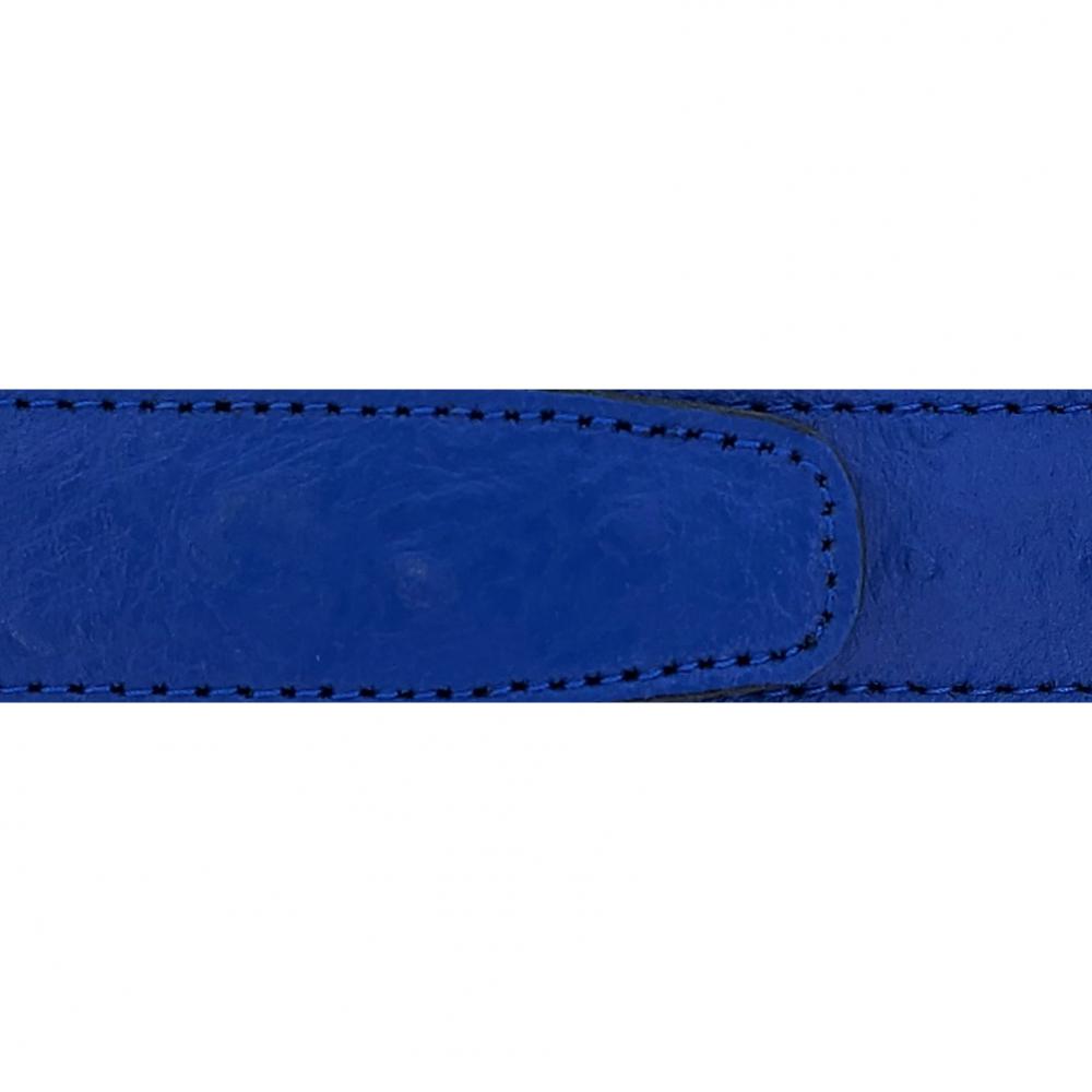 Cuir 30 mm façon autruche bleu roi