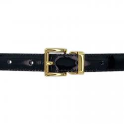 Ceinture cuir vernis noir 20 mm - Paris or (enfant)
