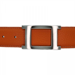Ceinture cuir souple orange 40 mm - Porto-fino argent