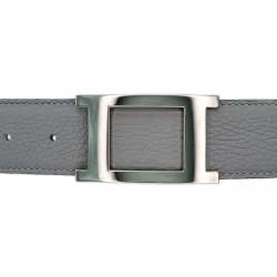Ceinture cuir souple gris 40 mm - Porto-fino argent