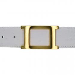 Ceinture cuir façon autruche blanc 40 mm - Porto-fino or