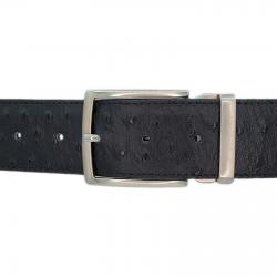 Ceinture cuir façon autruche noir 40 mm - Milano mate