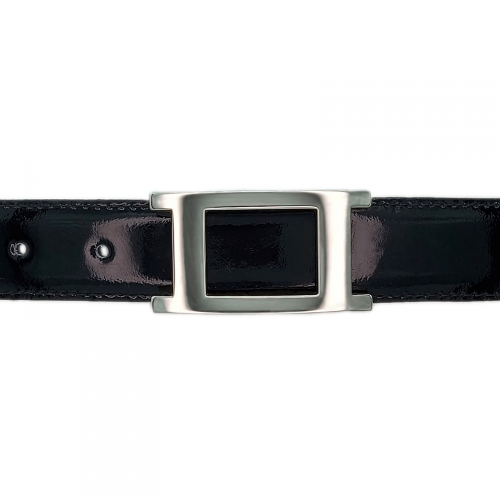 Ceinture cuir vernis noir 30 mm - Porto-fino argent