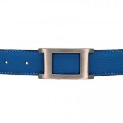 Ceinture cuir souple bleu ciel 30 mm - Porto-fino mate