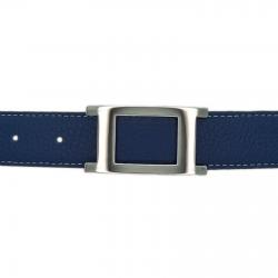 Ceinture cuir souple bleu marine 30 mm - Porto-fino argent