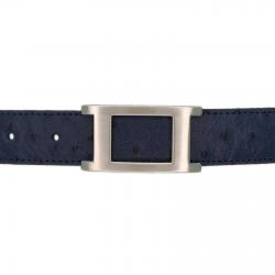 Ceinture cuir façon autruche bleu marine 30 mm - Porto-fino mate