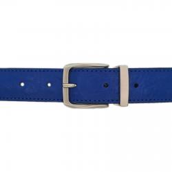 Ceinture cuir façon autruche bleu roi 30 mm - Côme mate