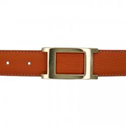 Ceinture cuir souple orange 30 mm - Porto-fino or