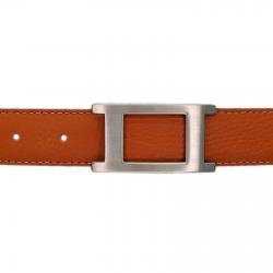 Ceinture cuir souple orange 30 mm - Porto-fino mate